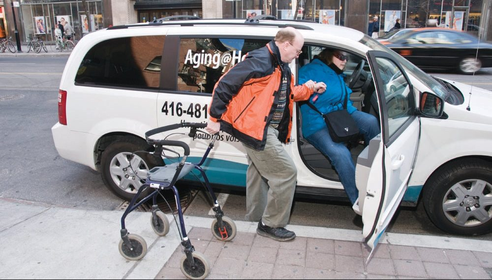 driver and client - transportation for seniors, Toronto Ride